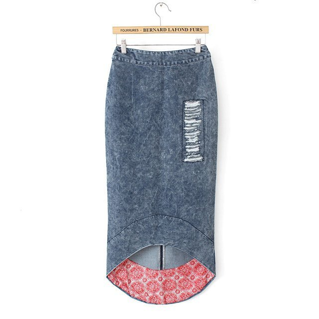 2015 New arrival slim casual denim skirts floral print patchwork pencil skirt vintage jean maxi skirt faldas largas