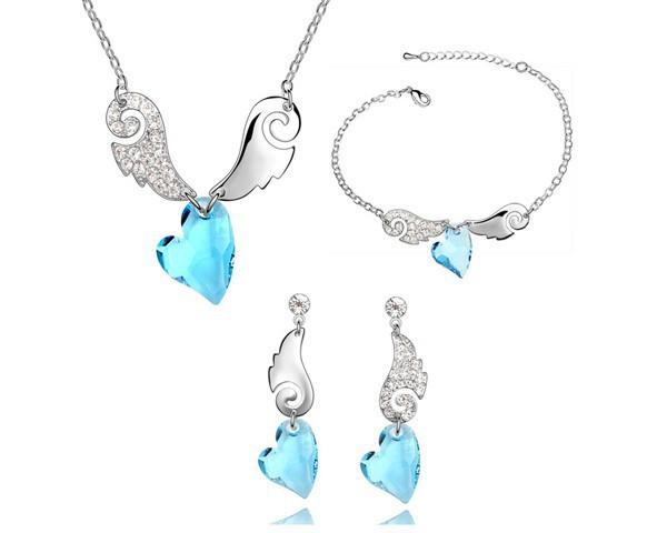 Blue Heart Crystal Necklace Earrings Bracelet Statement Jewelry Sets Made With Swarovski Elements Women Brand New Jewellery Set<br><br>Aliexpress
