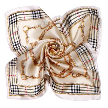 LING/The European Style Plaid Silk Scarf,2015 New Fashion Square Foulard Women Snood Satin Scarf,Lustre Bandana XF1052