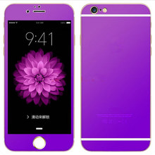 6 Color Fashion Front + Back Titanium Alloy Metal Tempered Glass HD Film Screen Protector Full Cover for iPhone 6 Plus Ultrathin