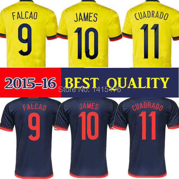 Best Thai 2015 2016 Colombia soccer jersey home away FALCAO Colombia jersey 15 16 JAMES RODRIGUEZ Colombia football soccer shirt(China (Mainland))