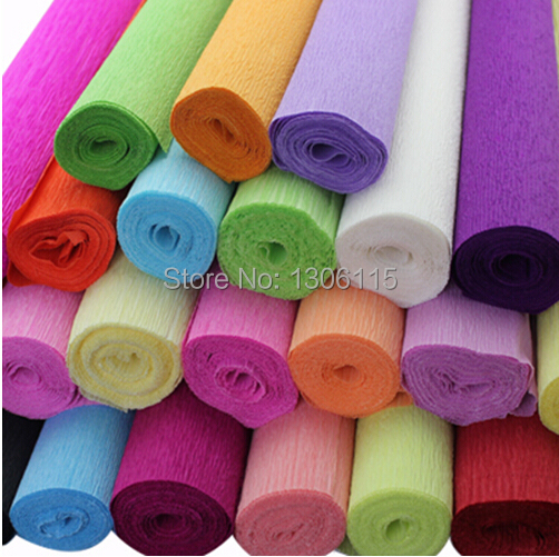 Free Shipping 250*50cm/Roll DIY Flower/ Gift Decoration Wrapping Packing Crepe Papers, Handmade Materials of Crinkled Paper(China (Mainland))