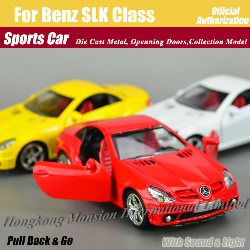 1:32 Alloy Diecast Model Metal Roadster Sports Car For Benz SLK Class Collectible Model Collection Toys Car With Sound&Light(China (Mainland))