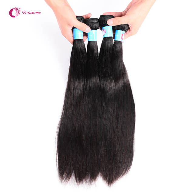 Forawme Hair Virgin Peruvian Hair Straight 1b Color Mixed Lengths 4 pcs lot Unprocessed Human Hair Weaving , Straight peruvian