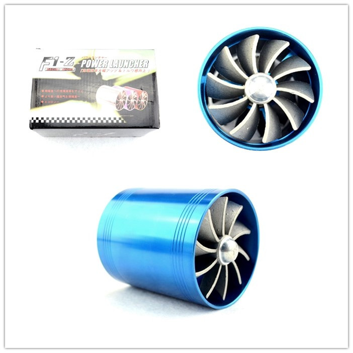 NEW High Quality Blue F1-Z Supercharger Double Turbo Air Intake Fuel Saver Fan Double Propeller for Engine of intake hose(China (Mainland))