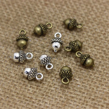 Buy PULCHRITUD 60pcs Antique Silver Metal Alloy 7*13mm Lovely Christmas Pineal Vintage Pendant Charms Jewelry Components Findings for $4.35 in AliExpress store