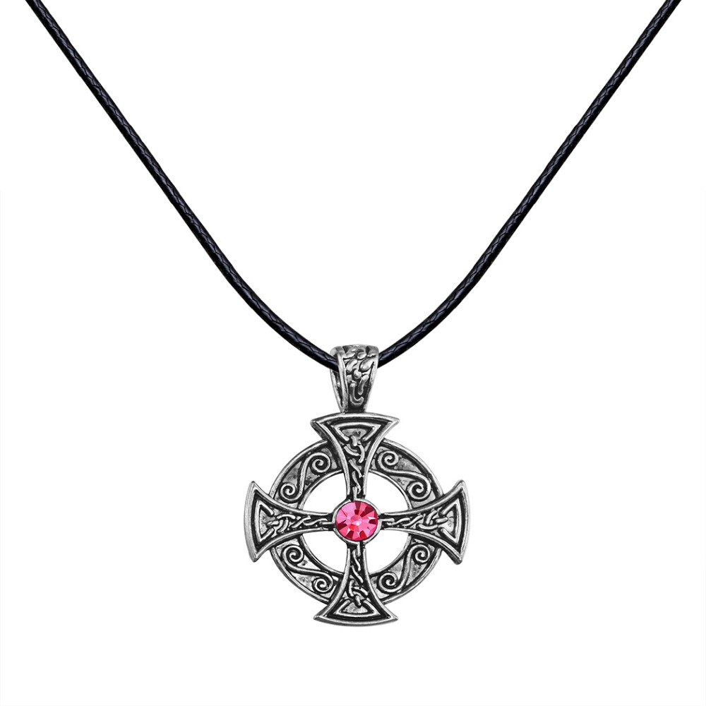 Unique Antique Silver Punk Celtic Sun Solar Red Crystal Cross Round Flower Pendant Rope Necklace Christmas Gift for Men Women
