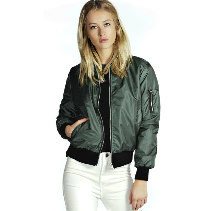 New Women Classic Padded Bomber Jacket Ladies Vintage Zip Up Biker Coat S-L Одежда и ак�е��уары<br><br><br>Aliexpress