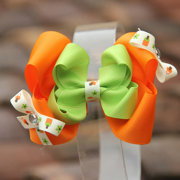 Chinapost Free 20pcs/lot mix 8colors 4.5'' double Stacked Diamond bow, Classic Hair Clip with Small Bow,Christmas Hair bow clips(China (Mainland))