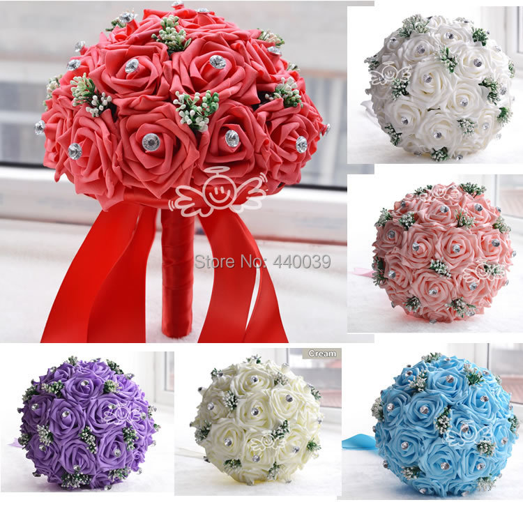 2016 New in stock Gorgeous Handmade Wedding flowers White Bridesmaid Bridal Bouquets artificial Rose Wedding Bouquet FE01(China (Mainland))
