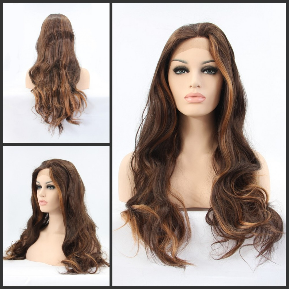 FreeShipping Glueless Heat Resistant Bodywave Wig Dark Brown two Tone Color Synthetic Lace Front - Qingdao noble queen hair factory store