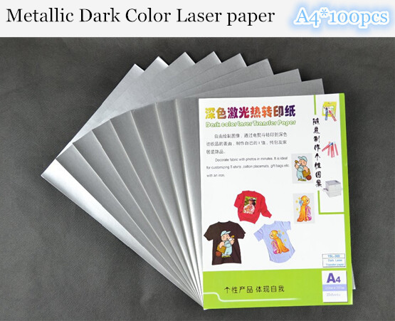 (A4*100pcs) Metallic Papel Laser Heat Transfer Paper For Textil Tshirt Thermal Transfers Paper For Dark and Light Fabric TSL-300(China (Mainland))