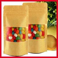 50pcs/lot 18cm*26cm+4cm*140micron Zip Lock Paper Bags, Paper Bag Kraft, Candy Paper Bag(China (Mainland))