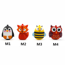 Hot Sale New Model USB Flash Drive Red Owl/Fox/Bee/Penguin Pen Drive Cartoon 4GB 8GB16GB 32GB Flash Memory Stick Free Shipping