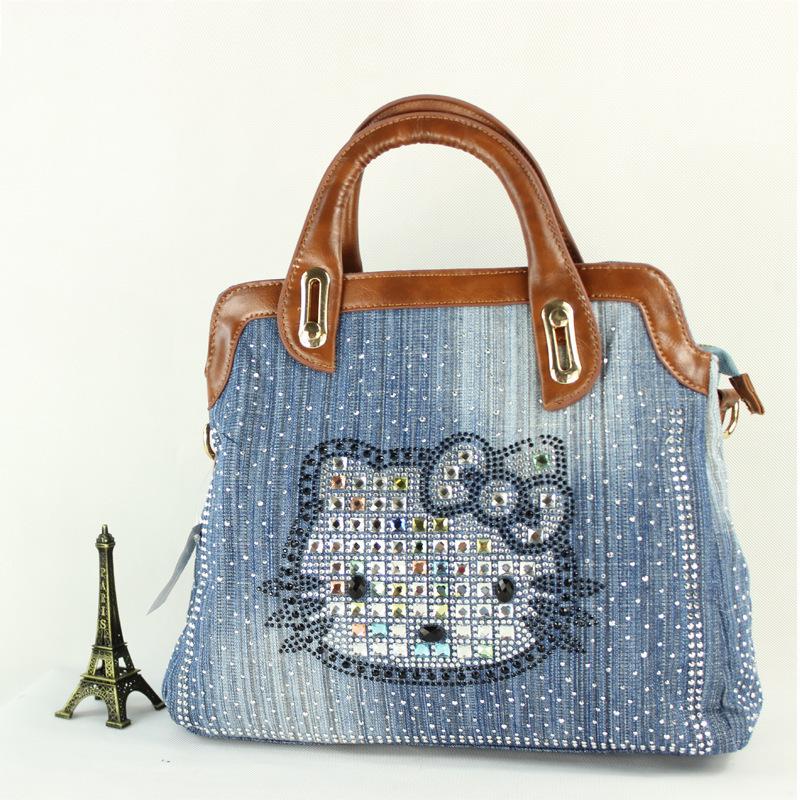 2015 casual style women handbag fashion Tote Shopping Bags Denim Handbags - National charm store