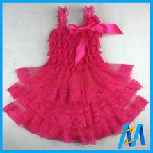 Summer Newborn Petti Lace Dress Baby Girls Party Dress 1 Year Birthday Kids Infant Princess Dress with Satin Bow Free Shipping(China (Mainland))