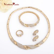 New  gold plated  filled jewelry set rhinestone necklace bracelet vintage wedding bridal party jewelry set dubai jewelry set(China (Mainland))