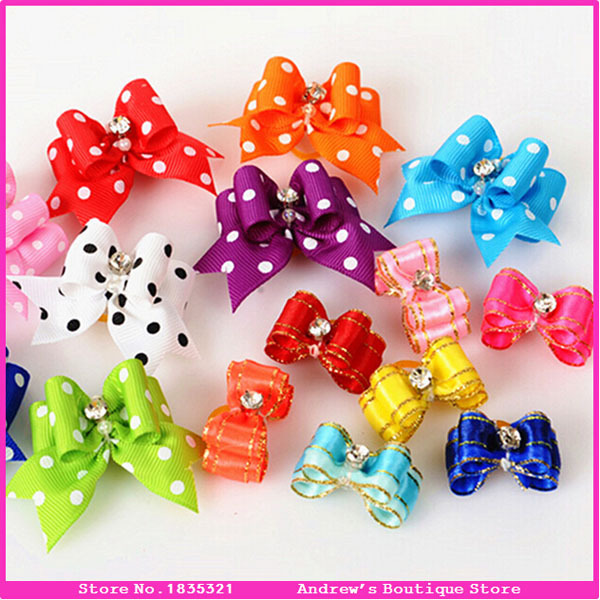 50pcs/lot Pet Supplies Products Handmade Dog Grooming Accessories Cat Show Supplies Pet Hair Bows Rubber Bands 15 Colors(China (Mainland))