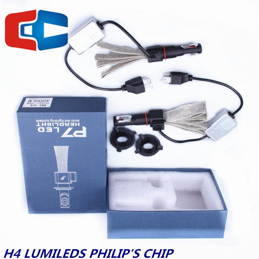 All-in-One 6000K 60W 9600LM H4 9004 9007 H13 Hi/Lo Beam Waterproof IP68 Phili p's LUMILEDS LED Chip Car LED Headlight Bulb(China (Mainland))