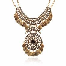 Fashion Collier Femme 2016 Women Bohemian Vintage Maxi Necklace Collar Bijoux Ethnic jewelry Tassel Coin Statement Necklace