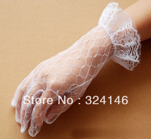 Free shipping 10 pairs New Bridal gloves Wedding Bridal Gloves Wrist Length Wholesale Retail, mesh/ tulle glove retail