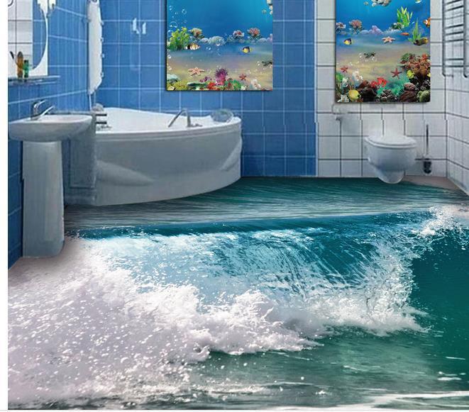benutzerdefinierte foto boden tapete 3d stereoskopischen ozean wellen. Black Bedroom Furniture Sets. Home Design Ideas