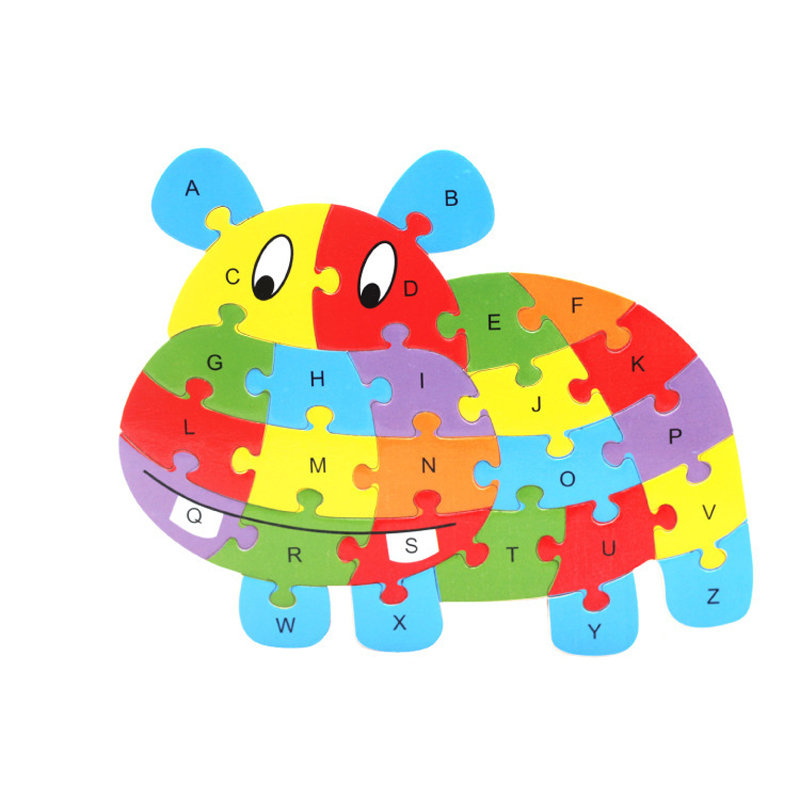 Children's Intelligence Toy Cognition English Letter Building Blocks Wood Animal Jigsaw Baby Educational Toys Kid Gifts(China (Mainland))
