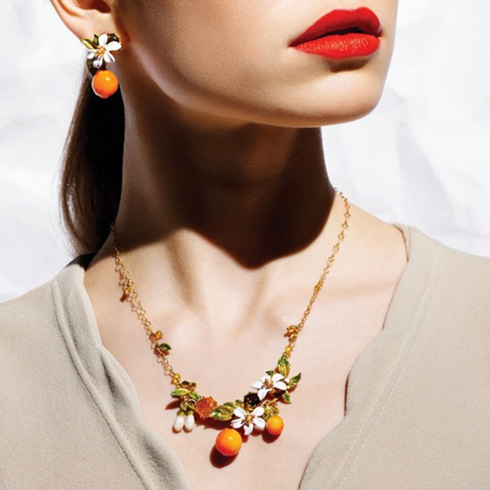 European fashion jewelry les nereides orange and lily flower stone real gold Plating Necklace party jewelry -Free Shipping(China (Mainland))