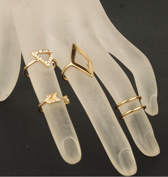 JZ074 Hot Selling Stylish New Design Fashion Europe Style Gold Plated Woman Party 5 piece one set Finger Rings Gift(China (Mainland))