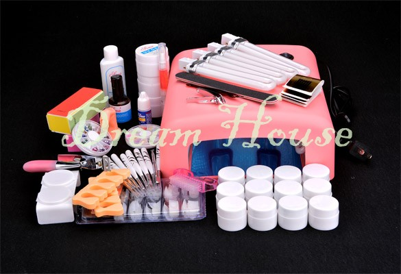 Professional Full Set 12 Color UV Gel Kit Brush Nail Dryer Lamp Nail Art Set + 36W Curing UV Lamp Kit Dryer Curining Tools US50(China (Mainland))