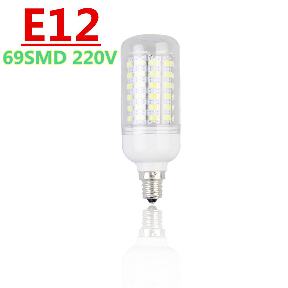 E12 High lumen Corn Bulb LED Lamps 220V 18W 69SMD 5730 Candle Spotlight Transparent Shell for Home Decor Lighting(China (Mainland))