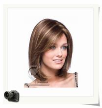Бесплатная доставка Qianbaihui парик боб прически синтетический парики средней длины прямые волосы коричневые парики для женщин с челкой 0010