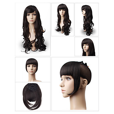 Clip in Synthetic Bang with Temples 3 Colors Available<br><br>Aliexpress