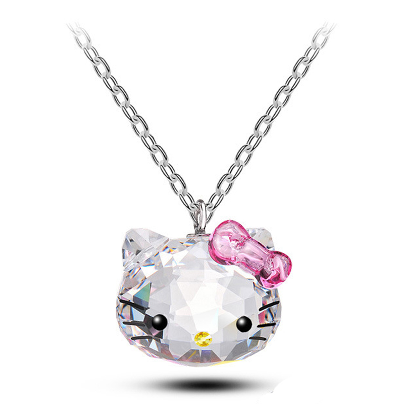 2016 New Stainless Steel Chain SWA ELEMENTS Crystal Pendants Cute Hello Kitty Cat Necklaces Fashion Jewelry For Women B014(China (Mainland))