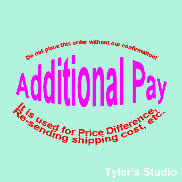 Additional Pay! - Price Difference, Re-sending Shipping Cost, etc. Tyler's Studio store
