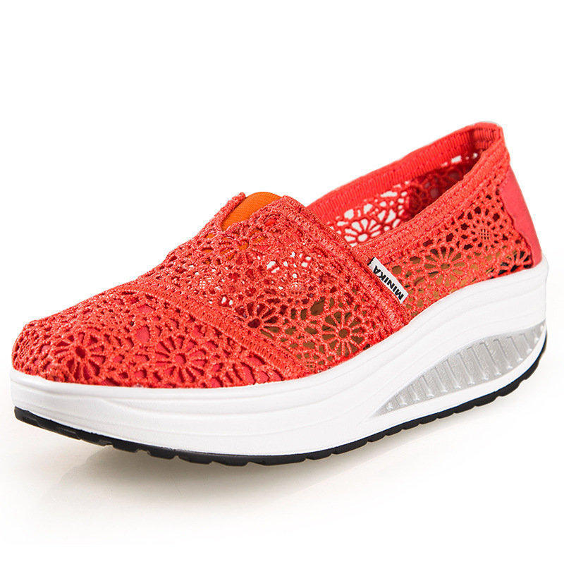 New 2015 Summer Hollow lace breathable Massage 5 CM platform sneakers Women's shoes Fashion Women wedge sneakers zapatos(China (Mainland))