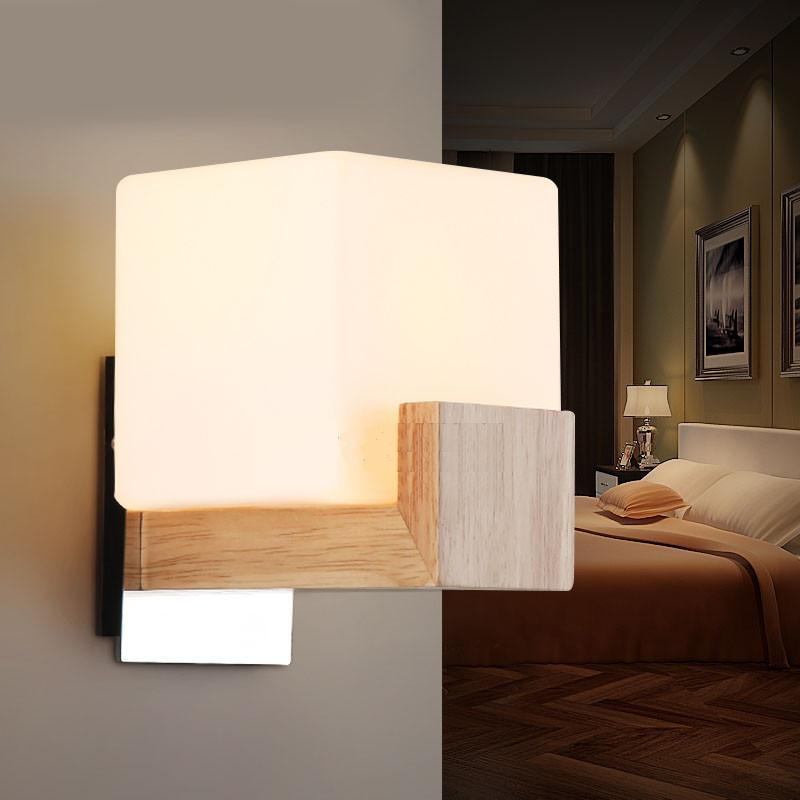 oak wood glass bedside wall mounted wall lamp single head. Black Bedroom Furniture Sets. Home Design Ideas