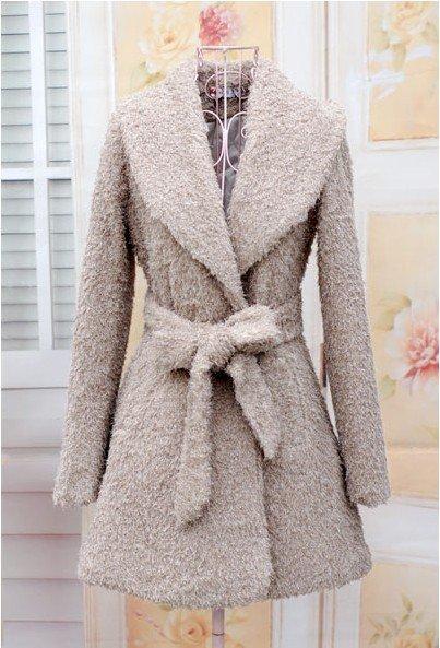 women coat, warm winter women rayon coat, warm cotton lining, fashion design with belt  elegant champagne color free shippingf20