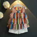 Summer New design fashion children s clothing set girls baby Color multi layer vest coat shorts