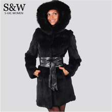Plus Size 3XL 4XL 5XL Russian Winter Fake Mink Fur Coats hood Women Faux Rabbit Fur Coat Outwear Parka Long Fur Coats With belt!(China (Mainland))