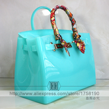 Hot sale popular turquoise bag female handbag plastic PVC waterproof rubber bags jelly beach bags candy color women purse(China (Mainland))