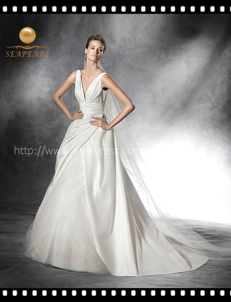 2016 advance top quality white satin deep v neck a line for Deep v back wedding dress