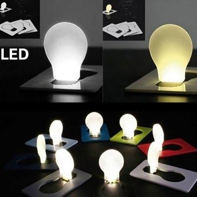 10pcs Ultra slim and light Novel Pocket LED Card Light Fold-up Bulb Shape Wallet / Purse Card Holder Night Lamp(China (Mainland))