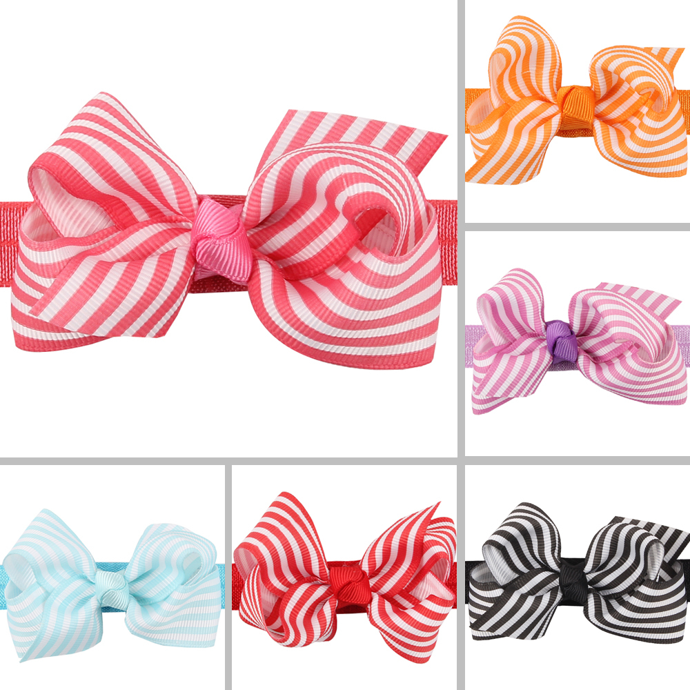 Toddler Infant bow Headband Baby Girls Newborn Hairband with strip style Accessories 6 Colors can choose(China (Mainland))
