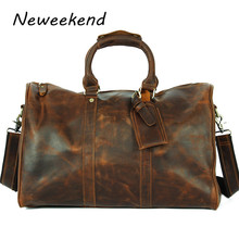 Buy LangDun Retro fashion men crazy horse leather luggage bags Mens 22 inch leather hand bag genuine leather for $91.16 in AliExpress store