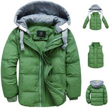 2015 ragazzi inverno bambini giù cappotto del rivestimento di modo con cappuccio solida e spessa  Cappotto caldo del ragazzo inverno clohting outwear per 4-13 t 6 colori(China (Mainland))