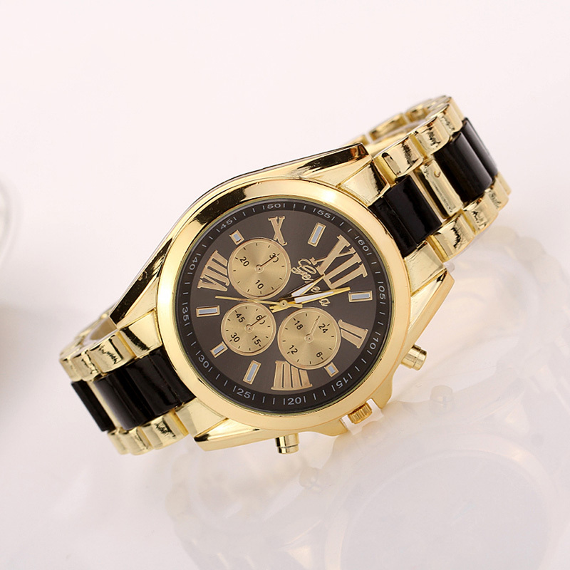 V1NF Fashion Stainless Steel Analog Geneva Watch Women Men Watches Quartz Wristwatch Free Shipping