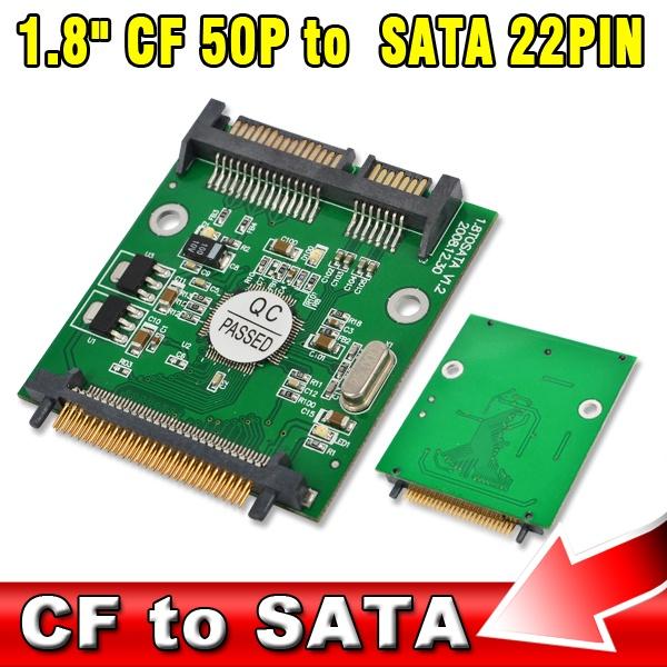 """1.8 inch 50p IDE CF to SATA 22 Pin Adapter Compact Flash Type I/II 50 pin to 2.5"""" 7+15 Pin SATA SSD HDD Converter Card(China (Mainland))"""