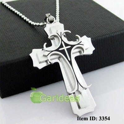 Wholesale Men's Silver Black Gold Stainless Steel Cross Chain Pendant Necklace1 pcs