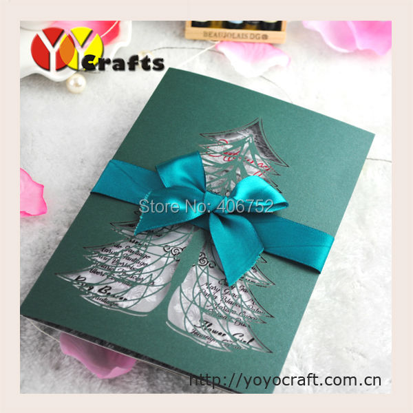 Cheap laser cut invitation card green Christmas tree greeting card(China (Mainland))